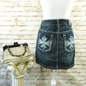 Maurices 5/6 Denim Jean Mini Skirt Embellished